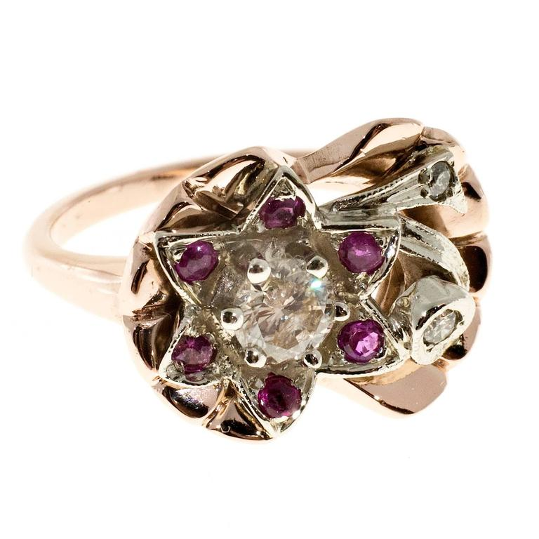 Diamond Ruby Flower Rose White Gold Cocktail Ring  For Sale