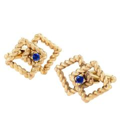 Tiffany & Co. 1950's Sapphire and Gold Cuff Links