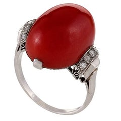 French 1920s Art Deco Red Coral, Diamond and Platinum Ring