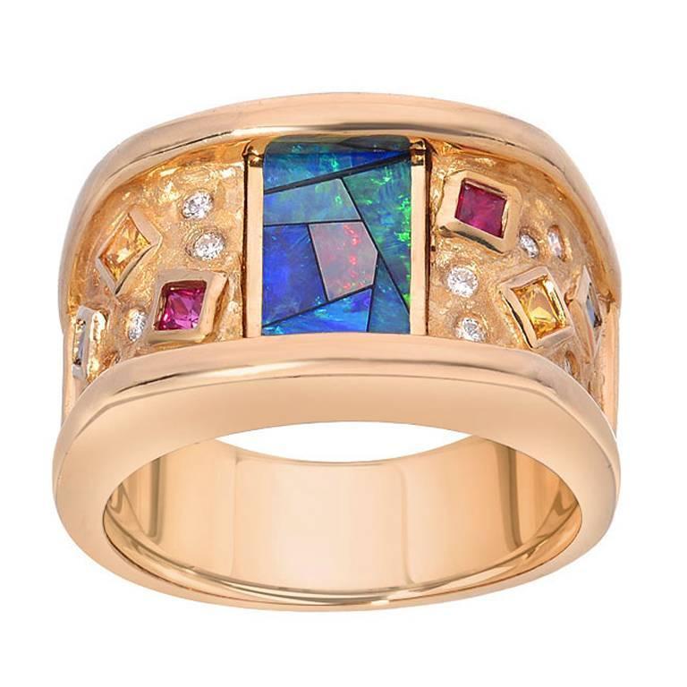 Inlaid-Opal Diamond Ruby Sapphire Gold Ring