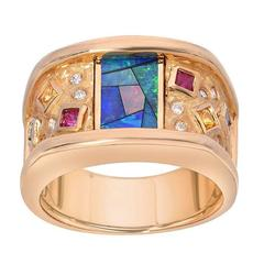 Inlaid-Opal Diamond Ruby Sapphire Gold Ring