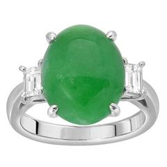 Jade Diamond Platinum Ring