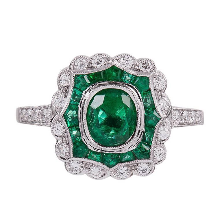 Emerald Diamond Plaque Ring