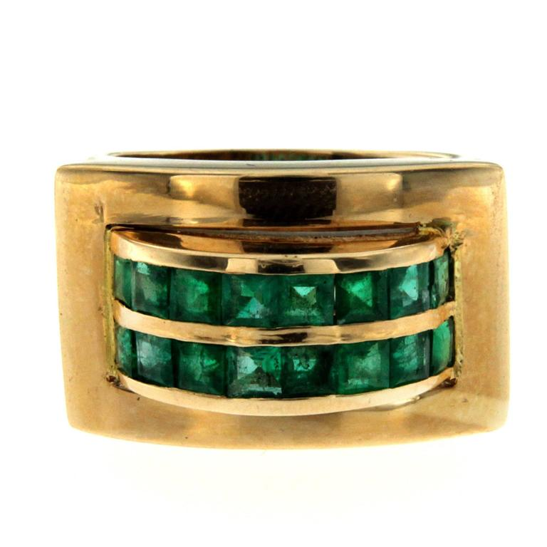 Retro Emerald Gold Band Ring
