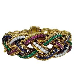 Elegant Boucheron Braided Gemstone Bracelet