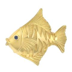Yellow Gold Tropical Fish Pin