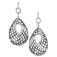 A. Link Diamond and 18 Karat Gold Woven Drop Earrings