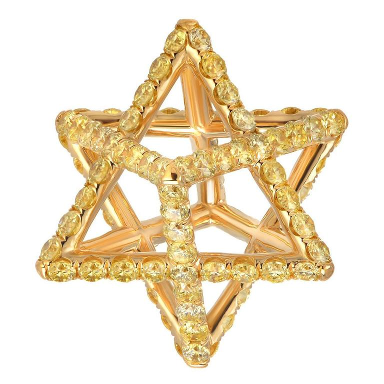 Merkaba Fancy Yellow Diamond Gold Pendant Necklace 1