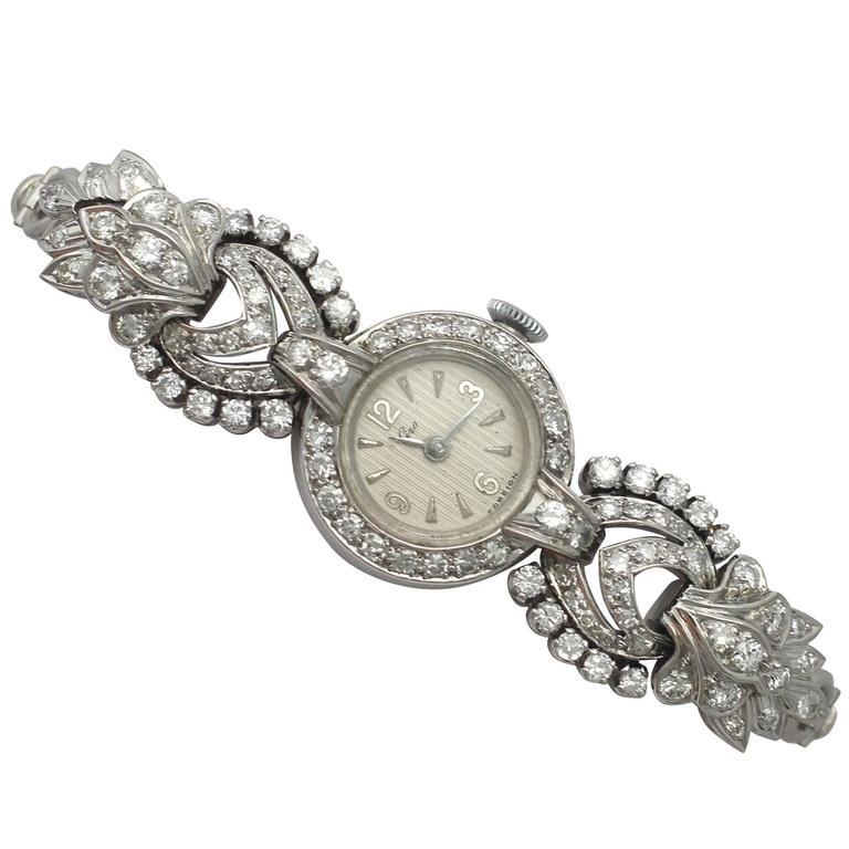 1950s and 1960s 2.92 Carat Diamond Cocktail Watch in Platinum and 9k White Gold 1