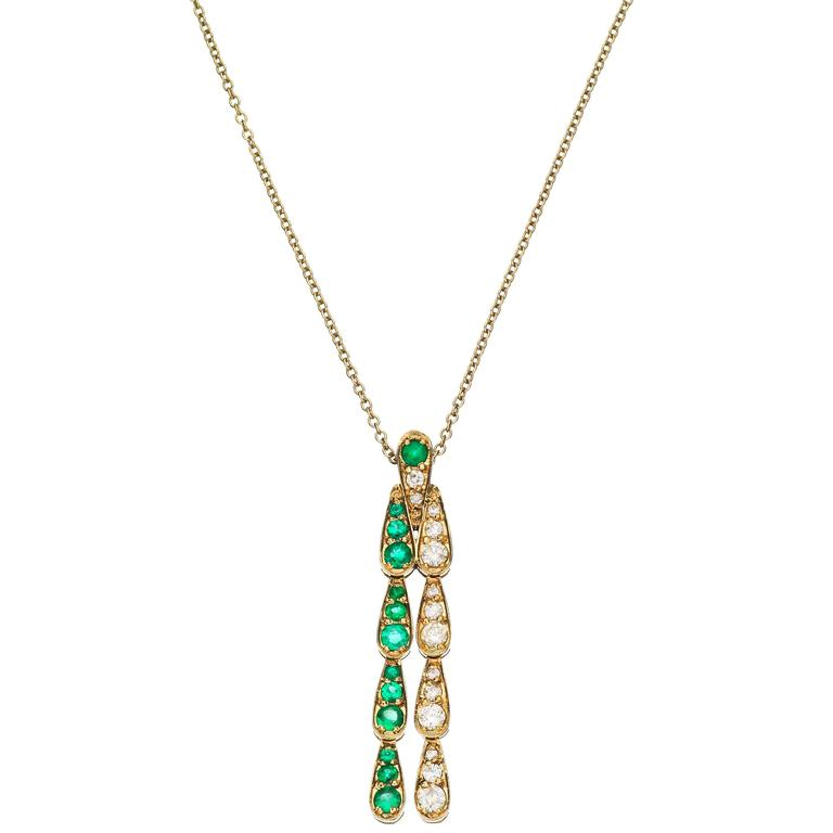 Sabine Getty Harlequin Necklace in 18 Karat Gold with Emerald and Diamond