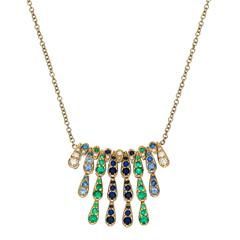 Sabine Getty White Gold Harlequin Necklace with Emerald, Diamond & Blue Sapphire