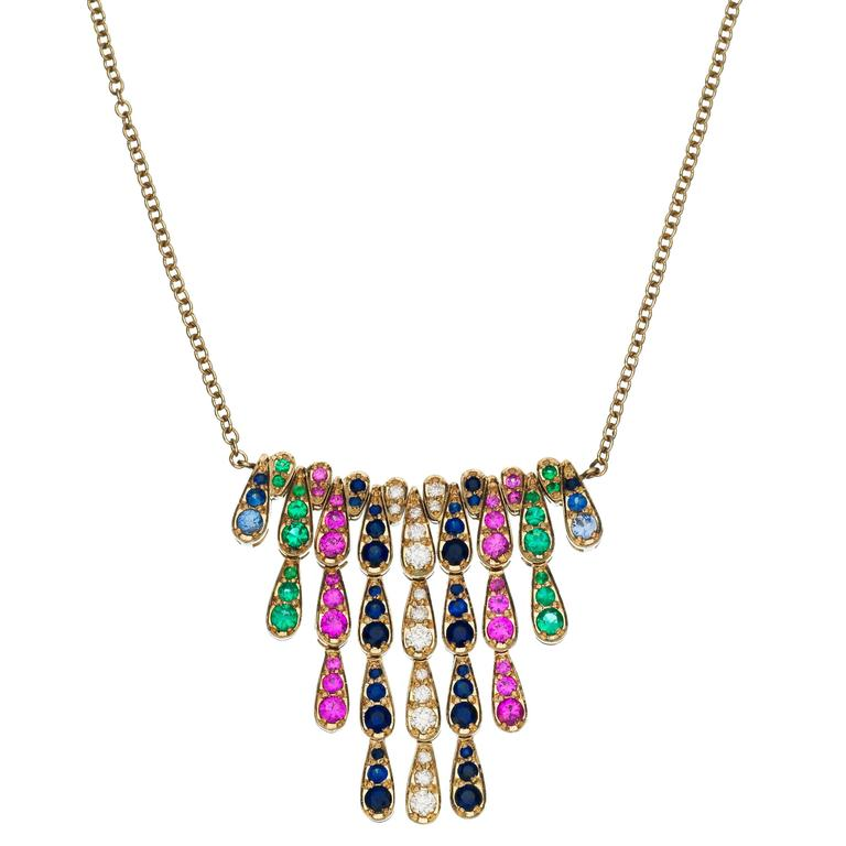 Sabine Getty Harlequin White Gold Necklace in Sapphire, Diamond and Emerald 1