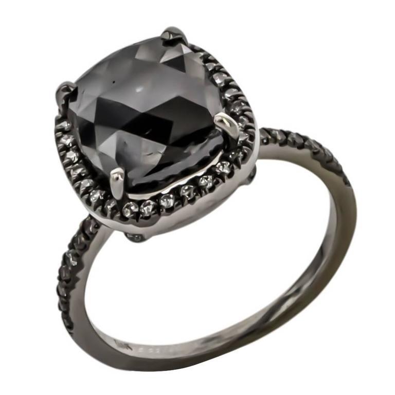 Sethi Couture 4.46 Carat  Black Diamond Ring 1