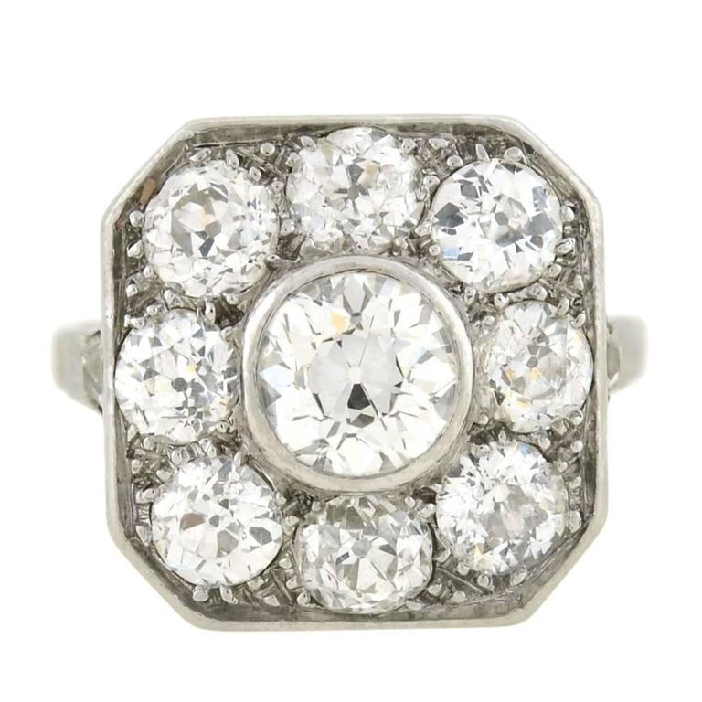 Edwardian Mine Cut Diamond Cluster Ring 3ctw