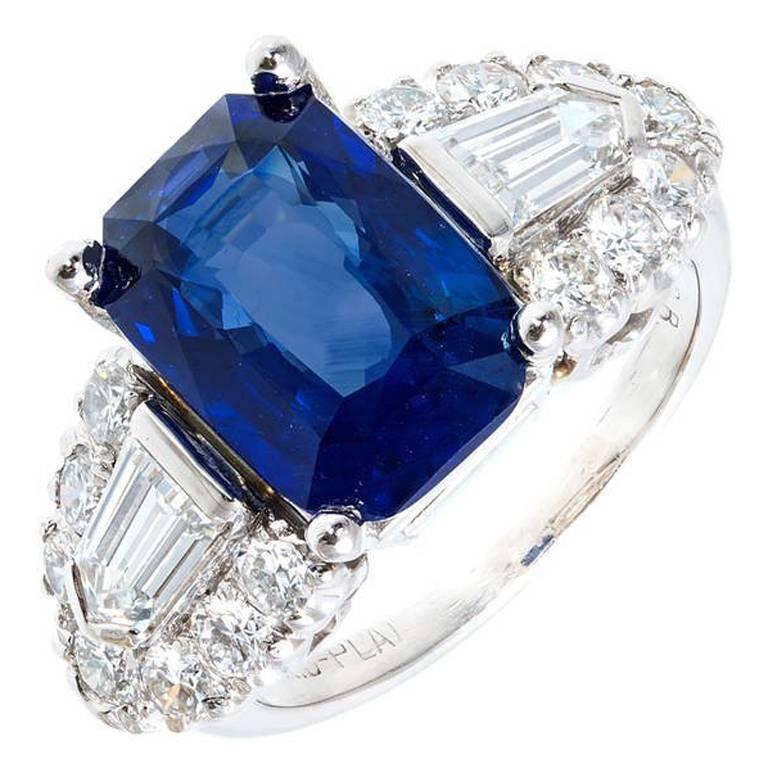 Art Deco 5.28 Carat Emerald Cut Sapphire Diamond Platinum Engagement Ring