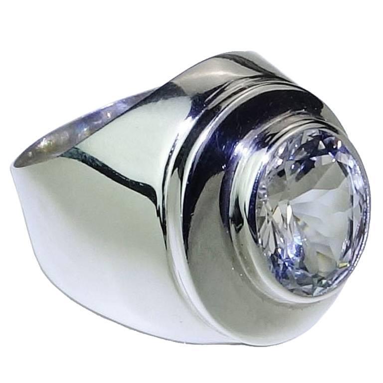 Oval Silver Topaz Bezel Set in Handmade Sterling Silver Ring