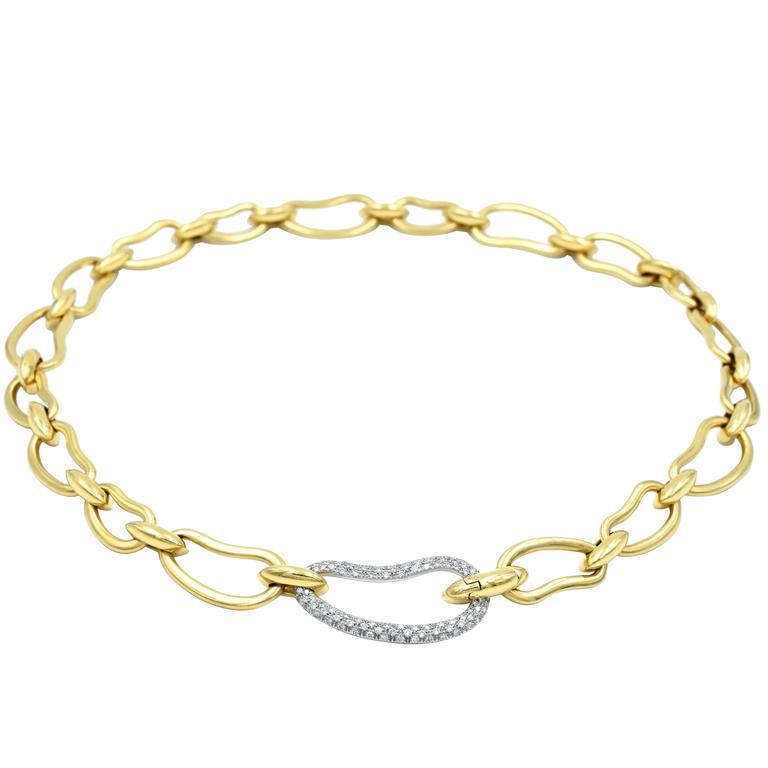 Pomellato Paisley Diamond Gold Long Necklace