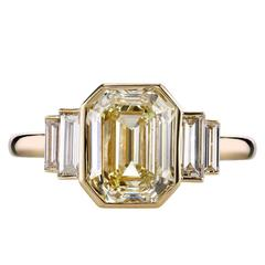 3.06 carat Art Deco Emerald Cut Engagement Ring
