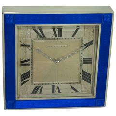 Cartier Sterling Silver Art Deco Enamel Desk Clock, 1930s