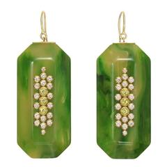 Mark Davis Green Bakelite, Diamond and Peridot Pendant Earrings