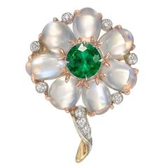 Emerald, Moonstone and Diamond Flower Pin