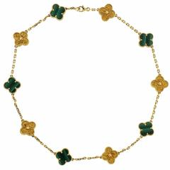 Van Cleef & Arpels VCA Limited Edition Alhambra Malachite Gold Necklace
