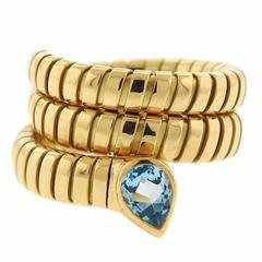 Bulgari Serpenti Tubogas Gold Aquamarine Wrap Ring