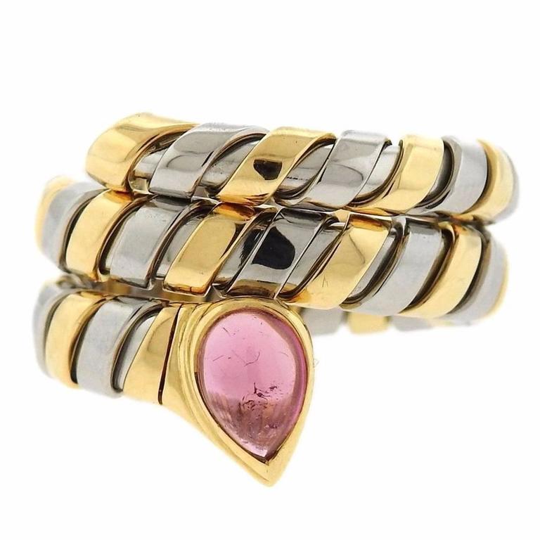 Bulgari Serpenti Tubogas Gold Pink Tourmaline Wrap Ring