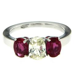 1.98 Carat AGL Certified Ruby Diamond Gold Ring