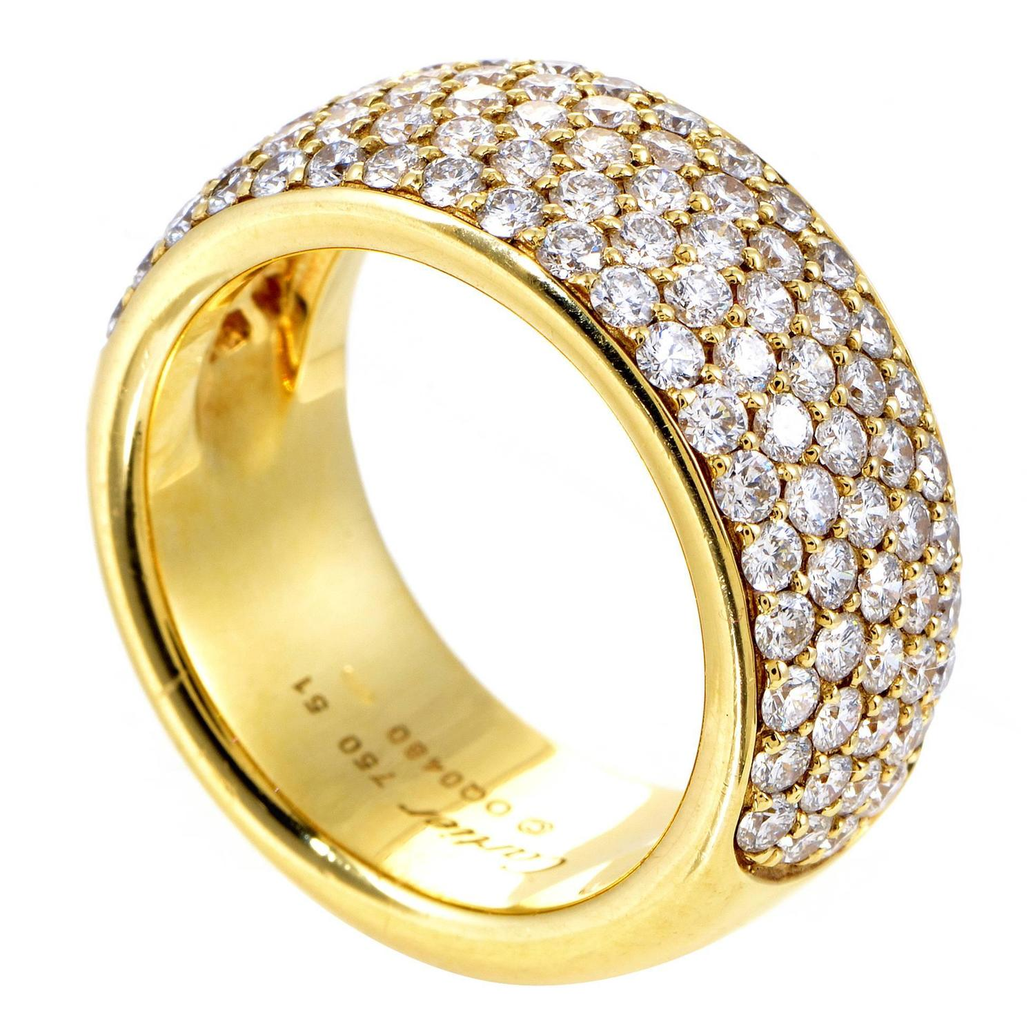 cartier yellow gold diamond pave band ring for sale at 1stdibs