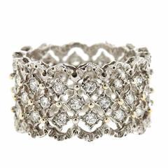 Mario Buccellati Gold Diamond Rombi Wide Wedding Band Ring