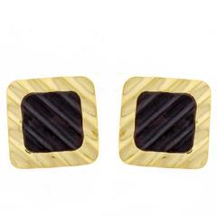 Michael Bondanza Fluted Black Onyx Earrings