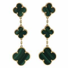 Van Cleef & Arpels VCA Magic Alhambra Malachite Gold Three Motif Earrings