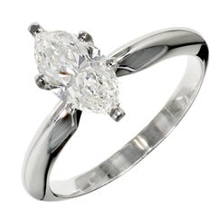 Peter Suchy .99 Carat Marquise Diamond Solitaire Platinum Engagement Ring