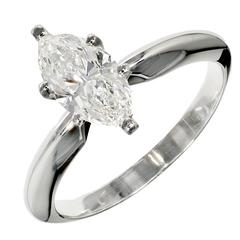 Peter Suchy Marquise Diamond Solitaire Platinum Engagement Ring