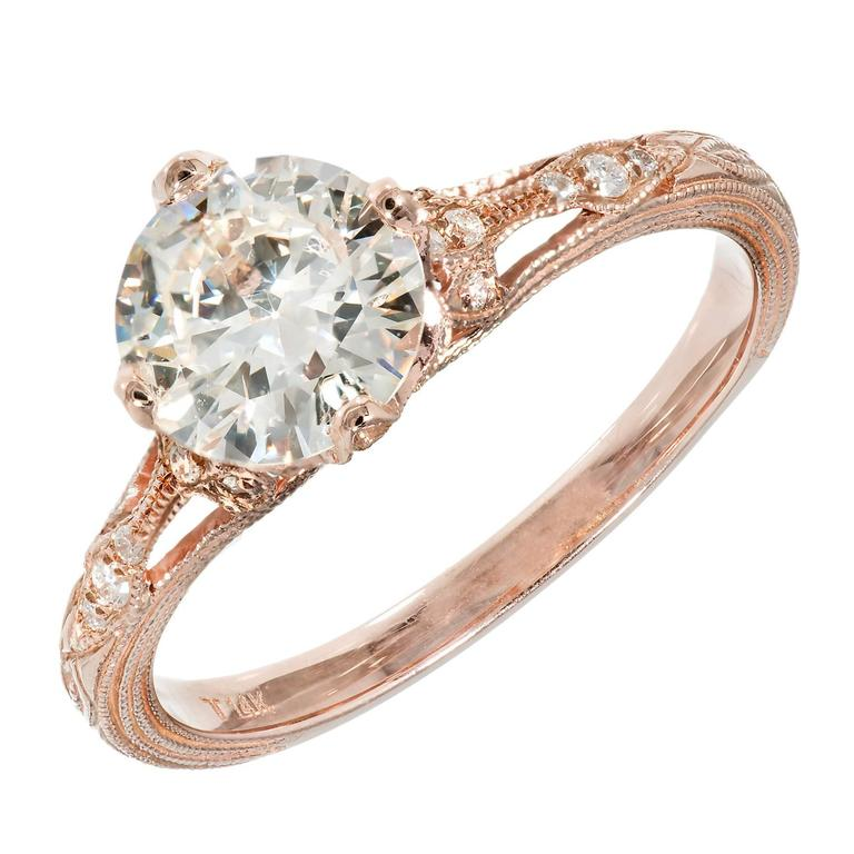 Peter Suchy Transitional Cut Diamond Rose Gold Engagement Ring  For Sale