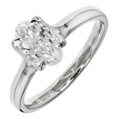 Peter Suchy Oval Diamond Solitaire Platinum Engagement Ring