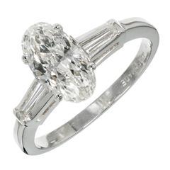 Old European Oval Diamond Baguette Platinum Engagement Ring