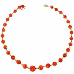 Natural Carved Orange Coral Gold Necklace