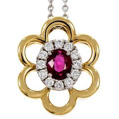 Spark Oval Ruby Diamond Halo Gold Pendant Necklace