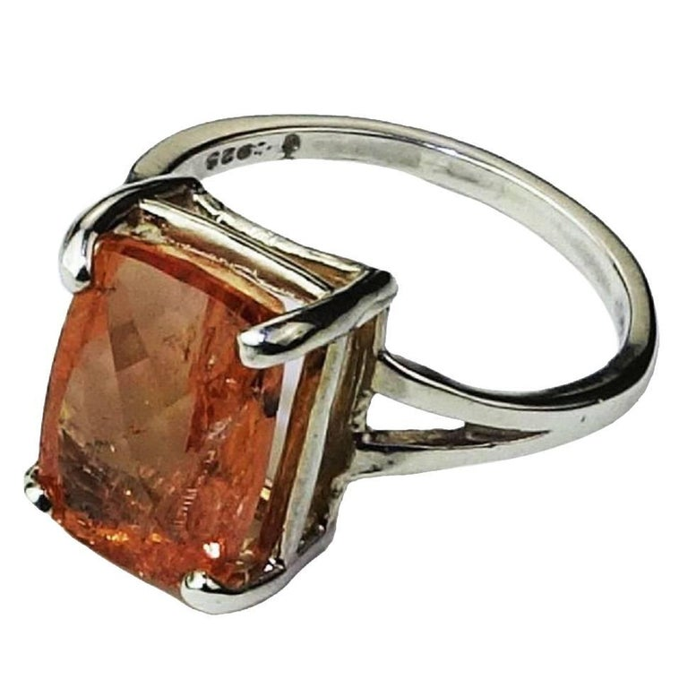 Rectangular Peach color Imperial Topaz set in Sterling Silver Ring