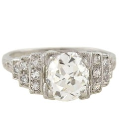 Art Deco GIA Certified 2.16 Carat Diamond Engagement Ring