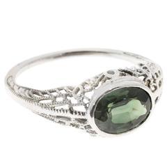 Art Deco 1.51 Carat Green Sapphire Filigree Gold Ring
