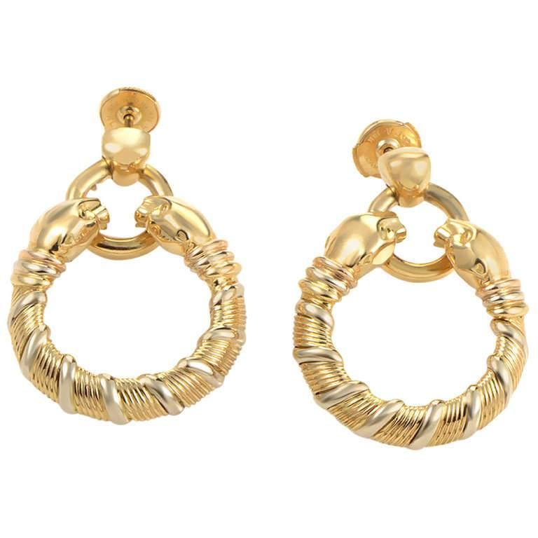 Cartier Panthere Gold Hoop Dangle Earrings For