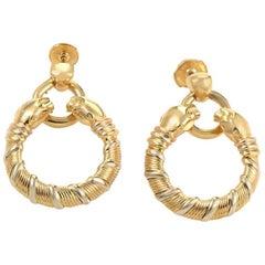 Cartier Panthere Gold Hoop Dangle Earrings