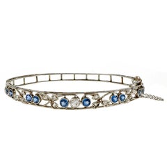 Montana Natural Sapphire Diamond Bangle Platinum Bracelet