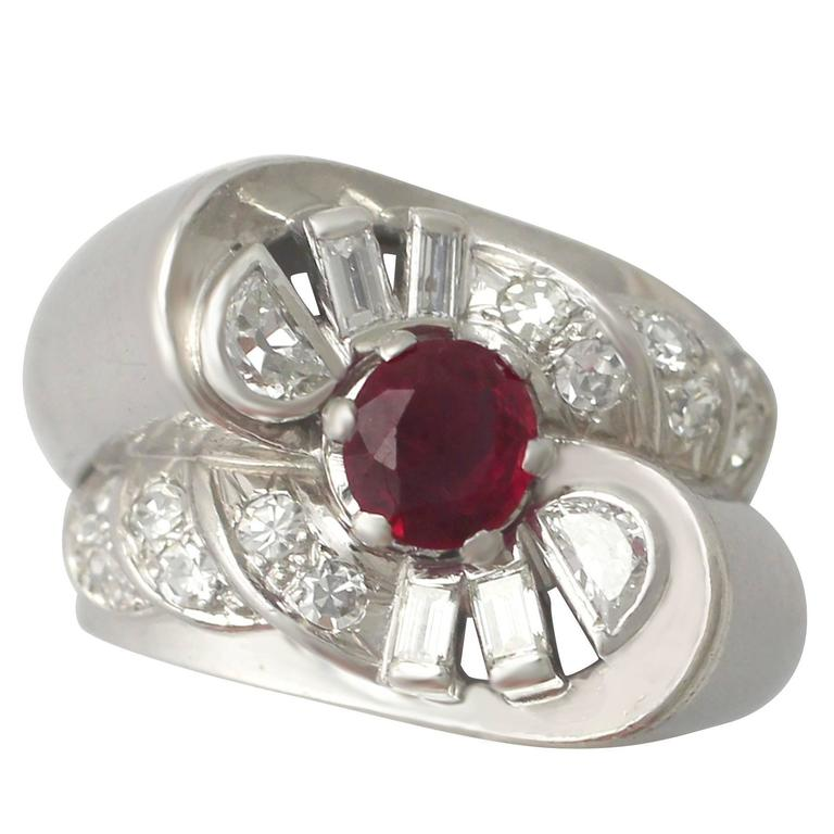 1940s French 0.90 Carat Ruby and 0.48 Carat Diamond, Platinum Ring