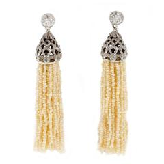 Diamond Natural Seed Pearl Tassel Dangle Gold Earrings