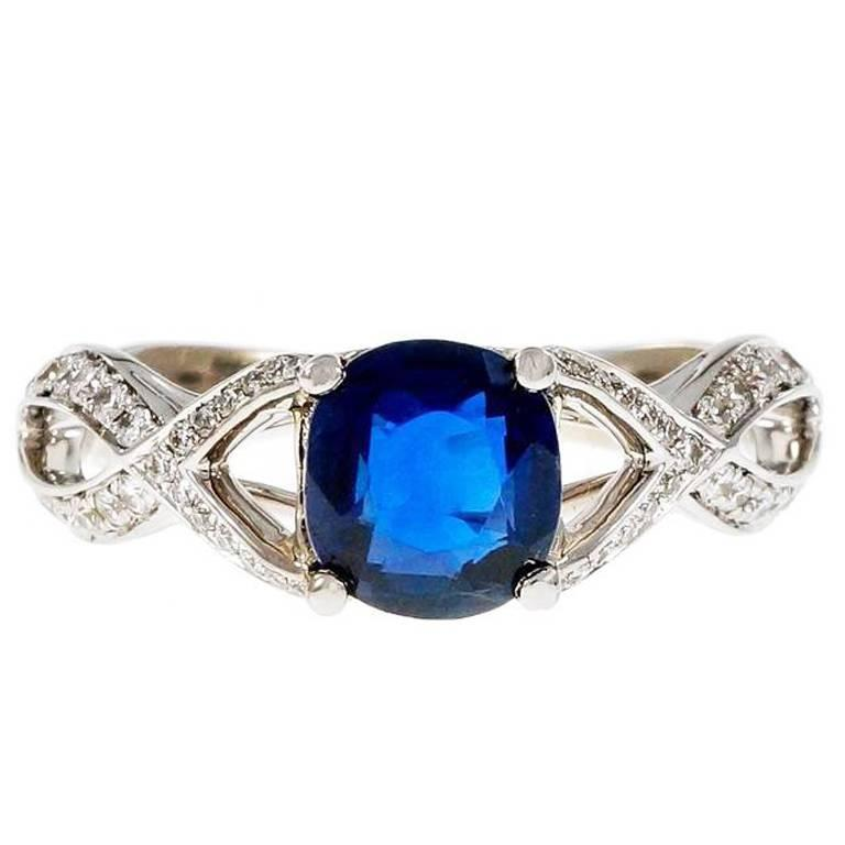 1 25 carat cushion cut royal blue sapphire gold