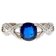 1.25 Carat Cushion Cut Royal Blue Sapphire Diamond Gold Engagement Ring